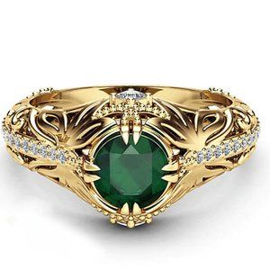 Emerald Zircon with 925 SS Ring